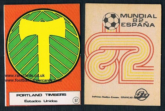 1982 NASL Portland Timbers emblem card from Spain